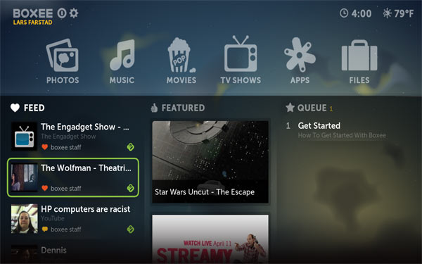 Boxee UI Home screen