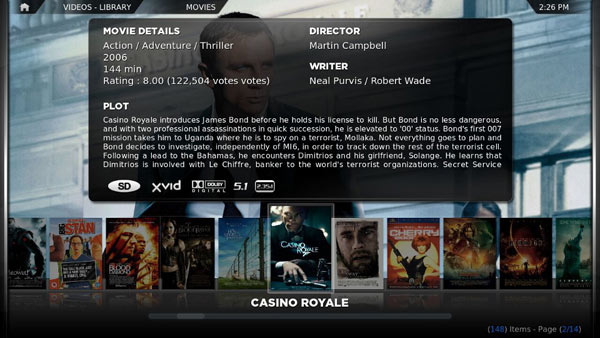 XBMC Skin Confluence Movies screen